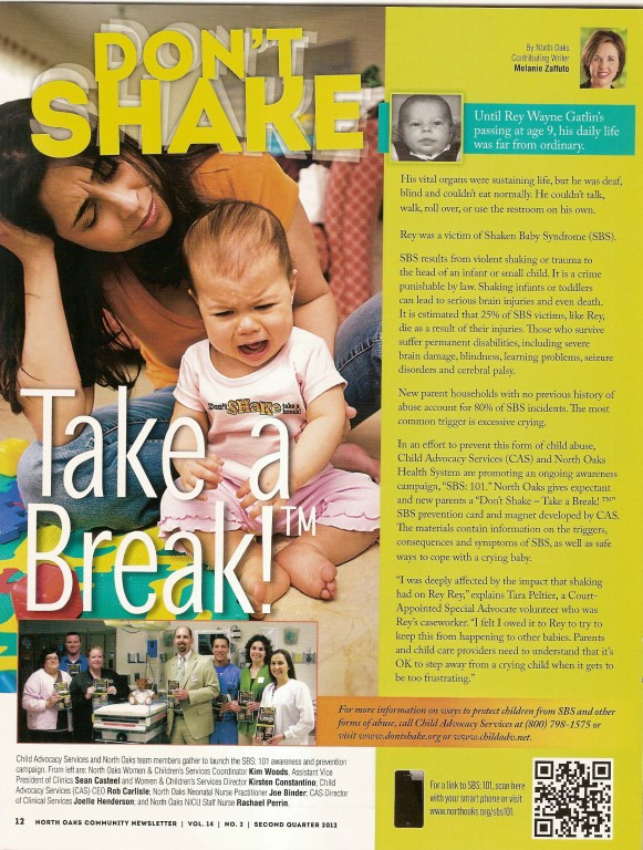 Shaken Baby Syndrome 101 Featured in North Oaks Newsletter - SBS: 101